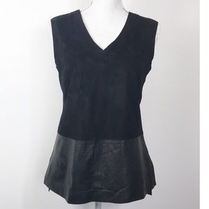 Vince Black Leather and Suede Sleeveless Top 6